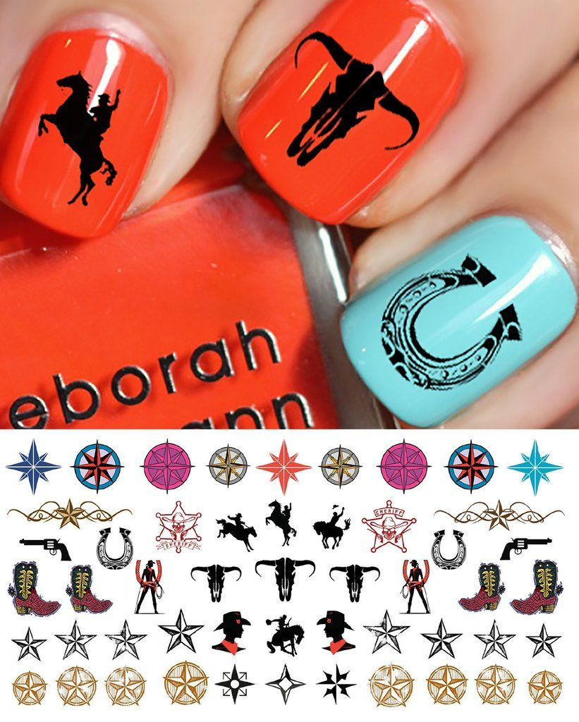 Country & Western Nail Decals Set #2   Country bar, Western nails ...