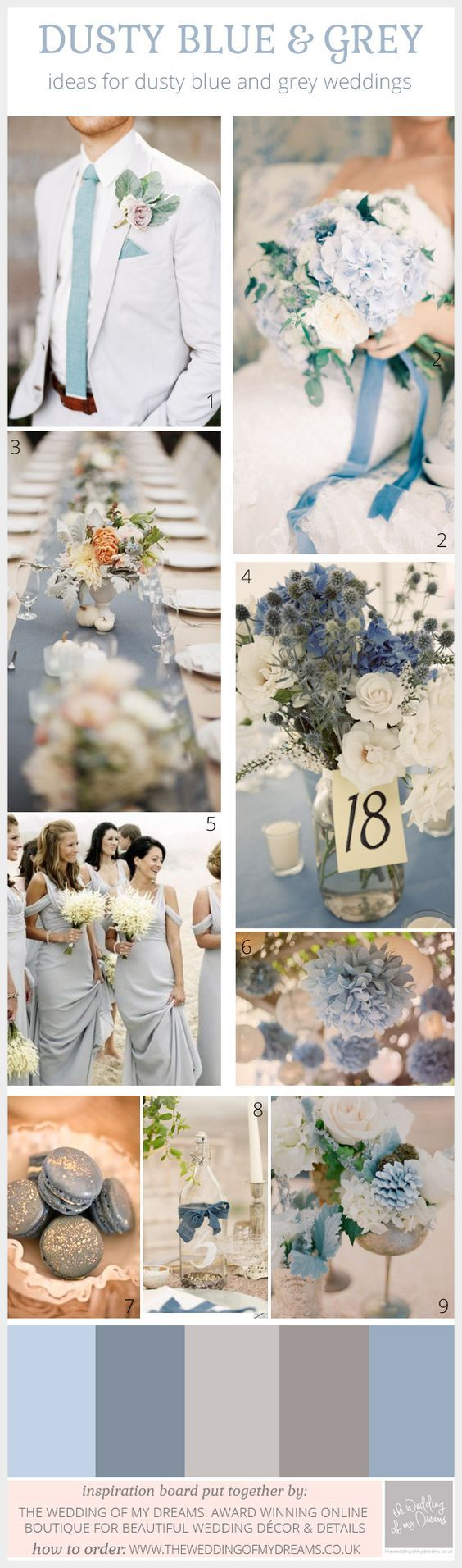 Sage Green and French Blue Wedding Colour Scheme | Dusty blue, Grey ...