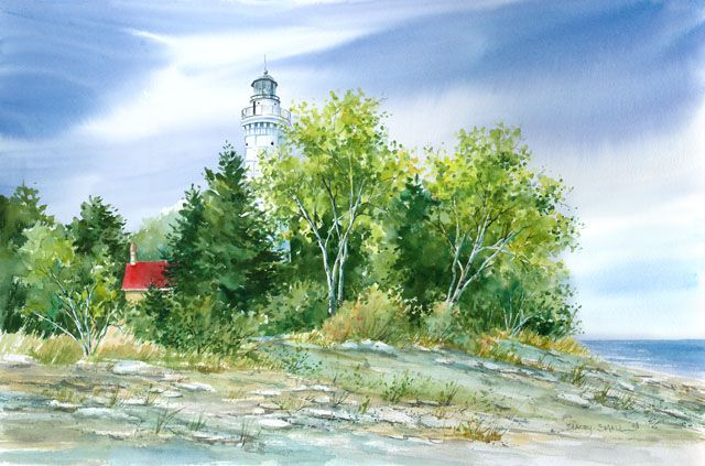 Cana Island Reproduction Of A Watercolor By Stacey Small Rupp Lighthouse Painting Lighthouse Print Lighthouse Art