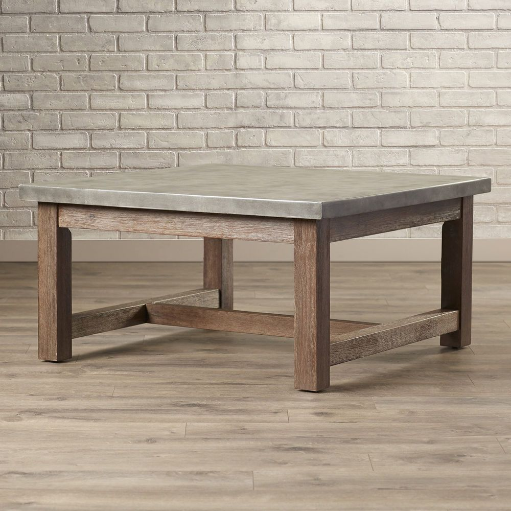 Square Coffee Table Molded Concrete Top Wood Frame Living Room Furniture  Decor