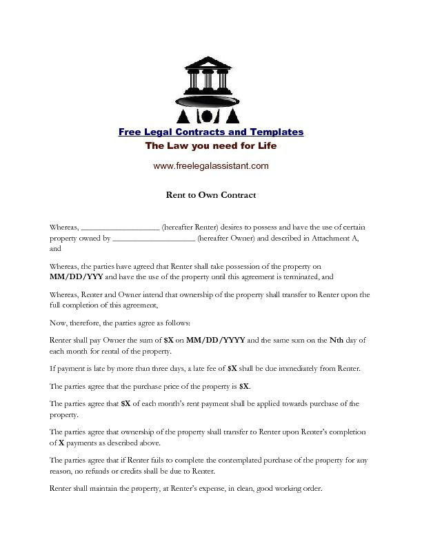 This is a #rent to own contract you can get on the - generic lease template