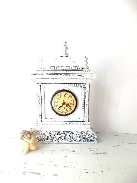 This Item Is Unavailable White Shabby Chic Mantle Clock Vintage Clock