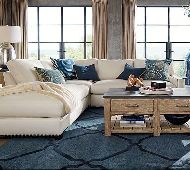 Turner Square Arm Upholstered 3-Piece Bumper Sectional With Nailheads # potterybarn : pottery barn turner sectional - Sectionals, Sofas & Couches