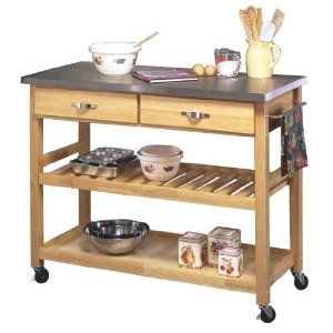 Natural wood kitchen cart with stainless steel top for Mobilia kitchen table