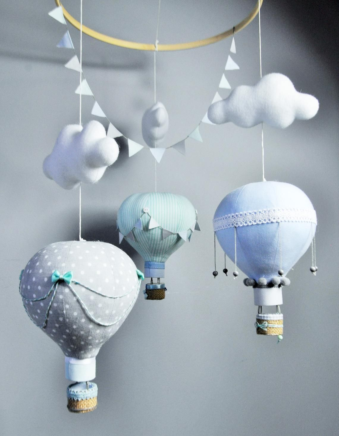 hot air balloons mobile, hot air balloon decoration