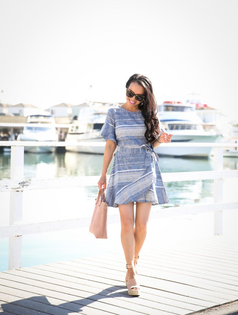 203f9caf4a What to wear for Spring -striped ruffle wrap dress