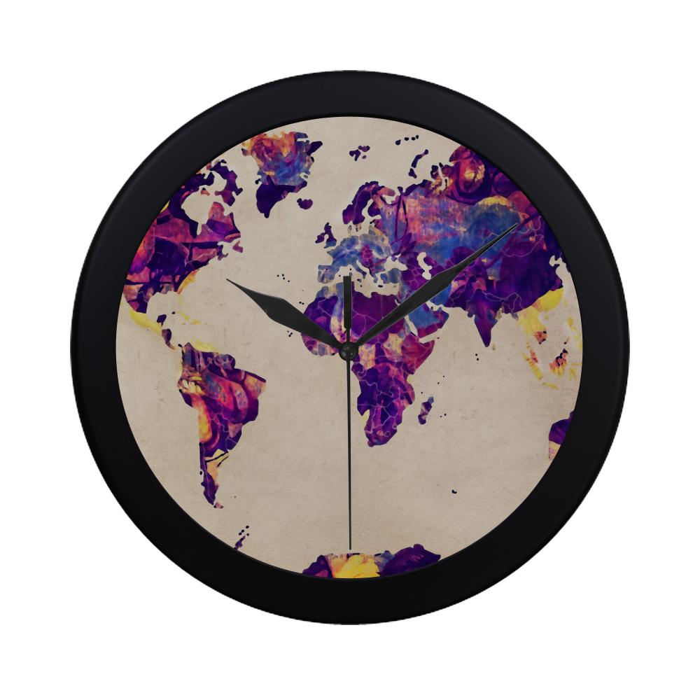 world map Circular Plastic Wall clock