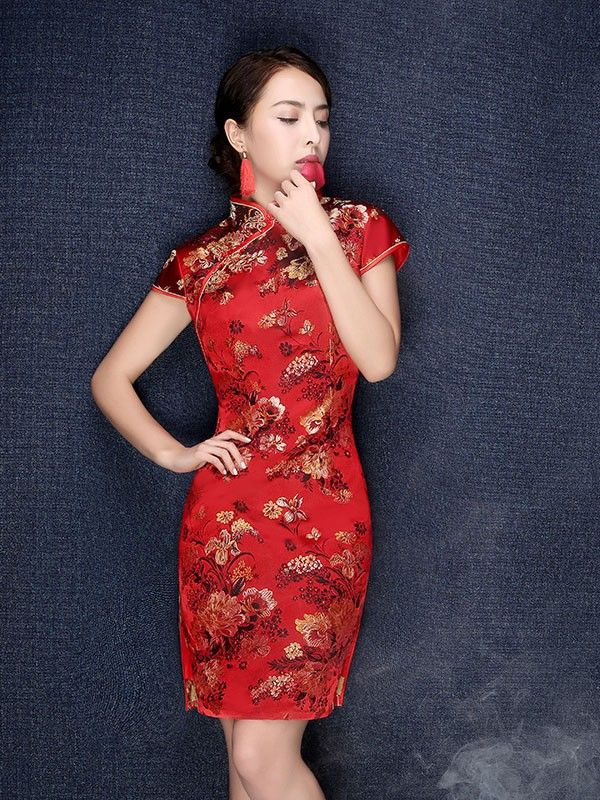 Red Floral Silk Qipao / Cheongsam Wedding Dress - CozyLadyWear