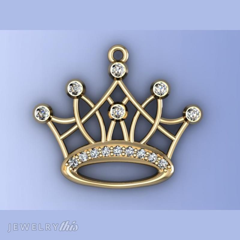 3D Jewelry Design Crown General Pendant Accent stones Organic