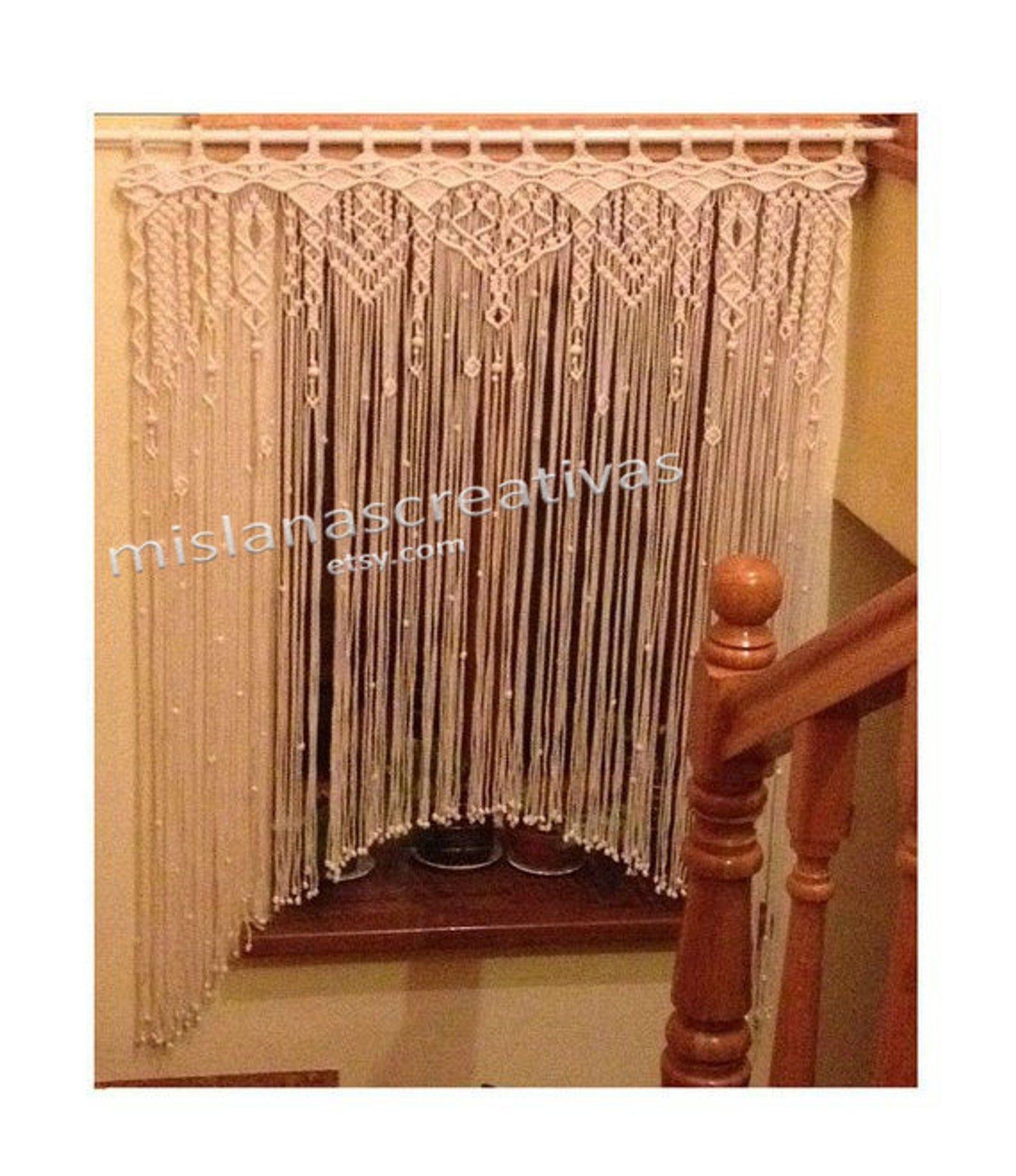 Macrame Curtain, Large macrame, Macrame fiber art,  Macrame Curtain, W 46in x H 59in, #46in #59in #Art #curtain #Fiber #Large #Macrame