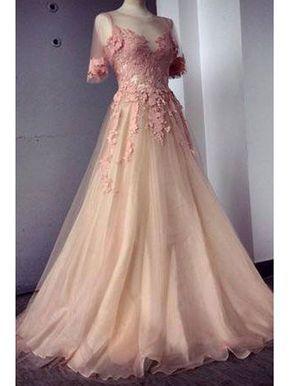 lange abendkleider ballkleider perlen rosa  ballkleid kleider abendkleid