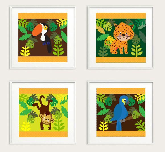 Especial Floresta Tropical para Bebê - #ilustração #baby #boy #VivianePriscinval