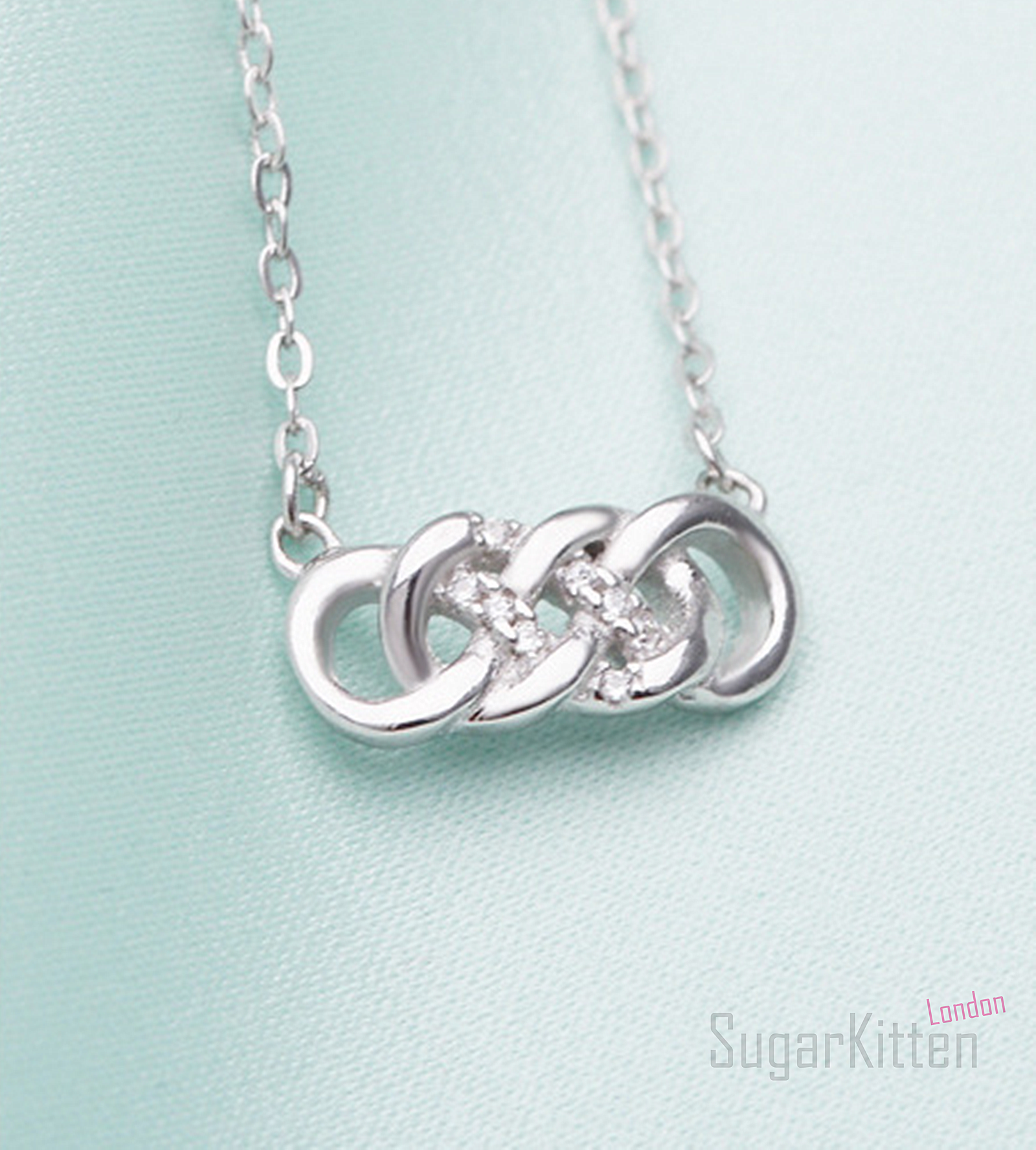 Double infinity necklace 925 sterling silver with crystal cz double infinity necklace 925 sterling silver with crystal cz jewellery forever biocorpaavc Image collections