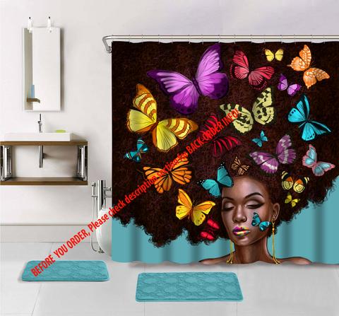 Butterfly Hair Shower Curtain Girls Shower Curtain Afrocentric