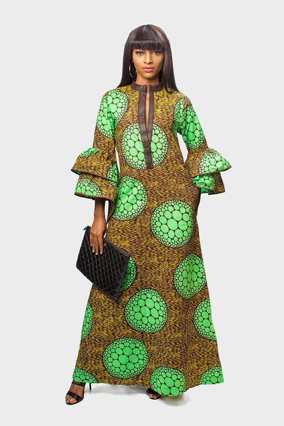 be4b1bda91c95 Beautiful Green Long Ankara Kaftan with Double Layered Sleeves Perfect Long  dress for any social outing Very comfy and easy to wear Fabric: Cotton  Fabric ...