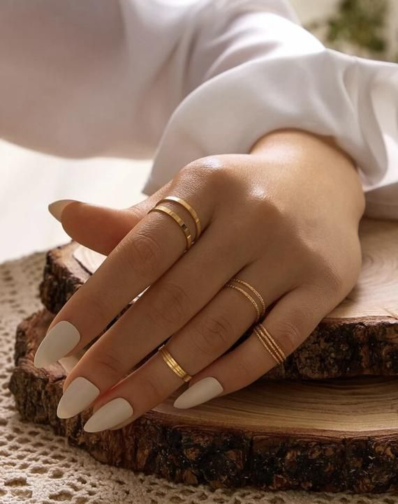 10 Piece Stackable Dainty Gold Modern Rings for Above Knuckles, Midi