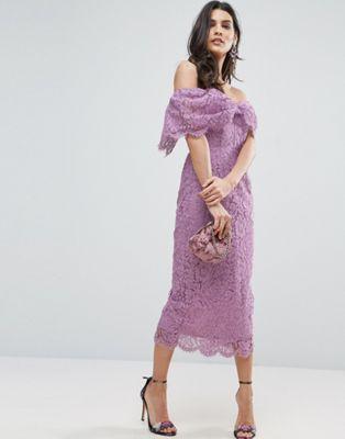 c6a7bd7b08c8 ASOS Off Shoulder Bardot Pencil Midi Dress