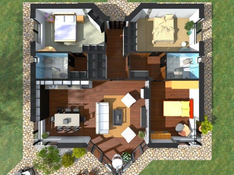 Planos de casas y apartamentos en 3 dimensiones for Casas con jardin grande