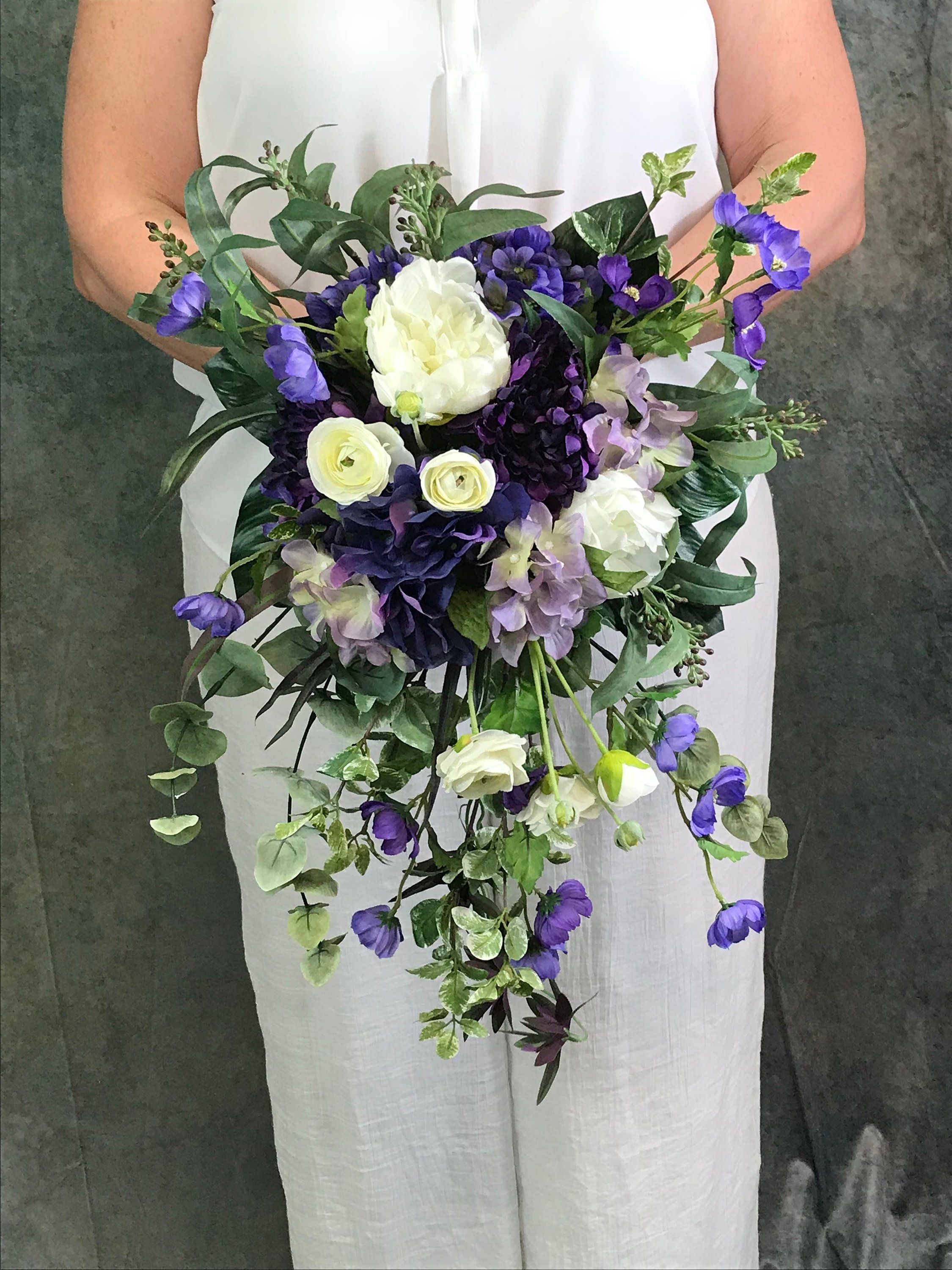 Regency & Wisteria Purple Bridal Bouquet-Purple Cascading Silk Bridal Bouquet-Hydrangeas-Peonies-Ranunculus-Cosmos-Eucalyptus-Purple Wedding #bridalbouquetpurple