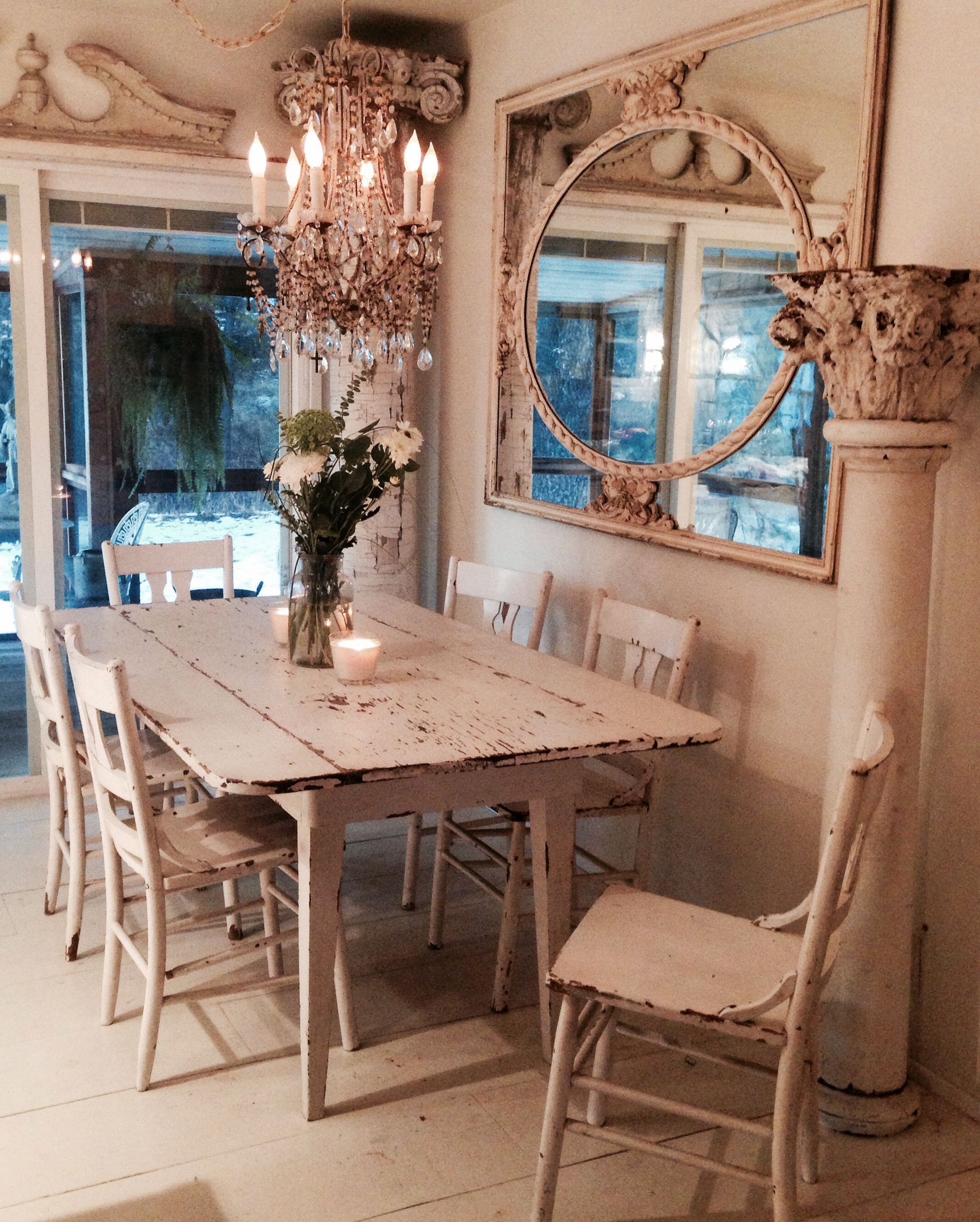 White farm table from Tar Flat Sonora CA | Shabby Chic decor ...