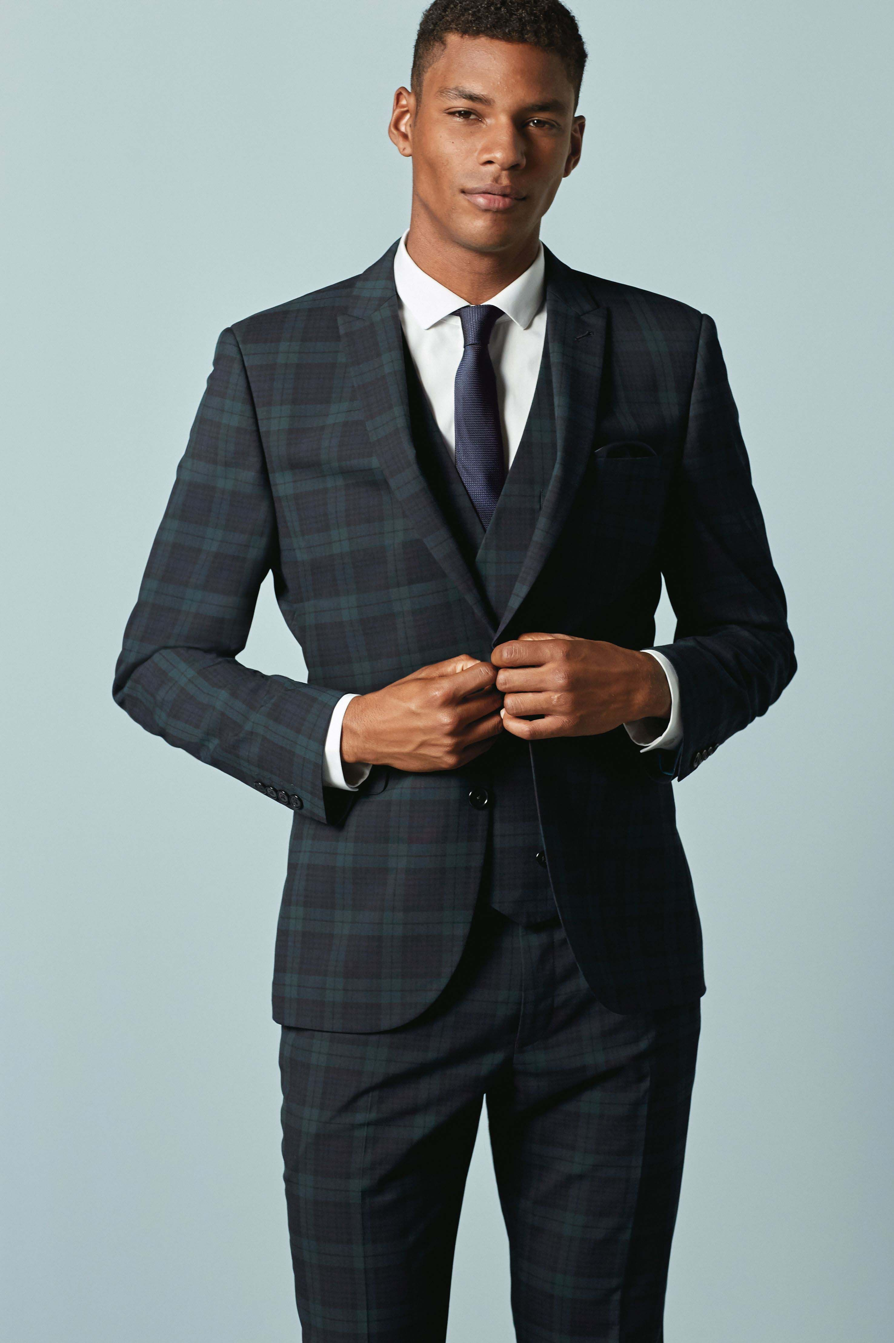 361b4ff811dc Mens Next Slim Fit Check Suit: Trousers - Green | Prom | Trouser ...