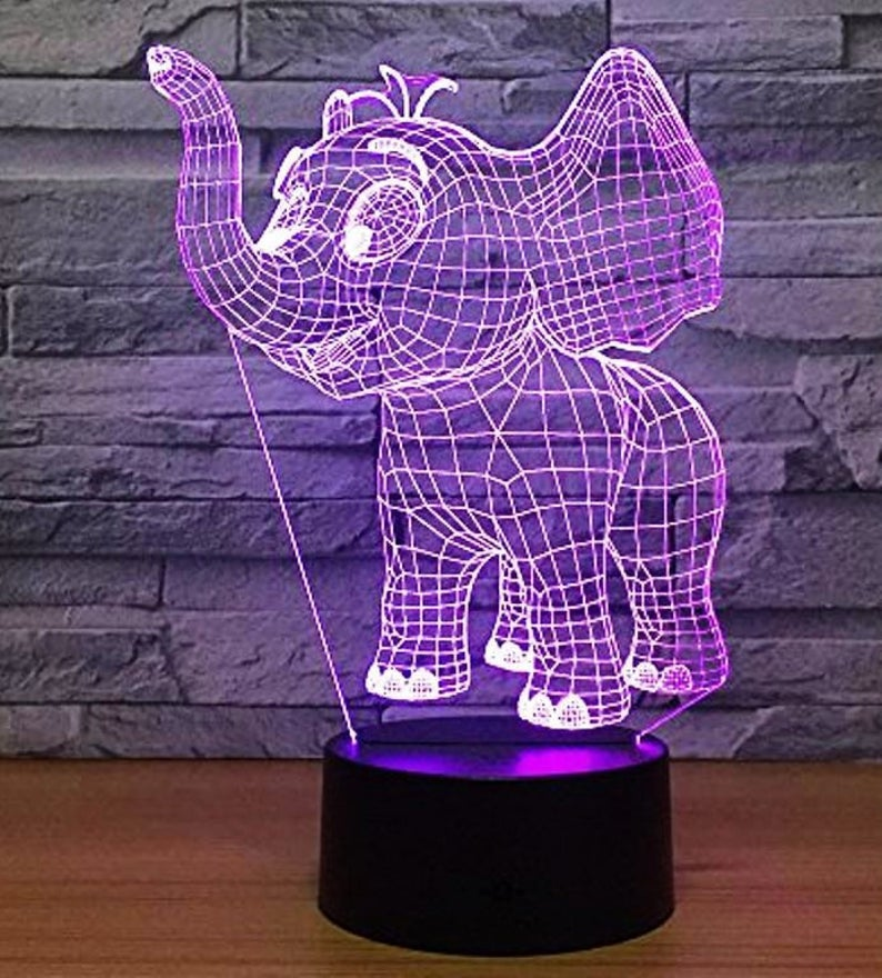 Elephant 3d Illusion Acrylic Led Lamp This Cnc Files Dxf Etsy In 2020 3d Illusions Illusions Lamp
