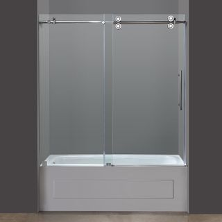 Vigo 60-inch Clear Glass Frameless Tub Sliding Door (Stainless ...