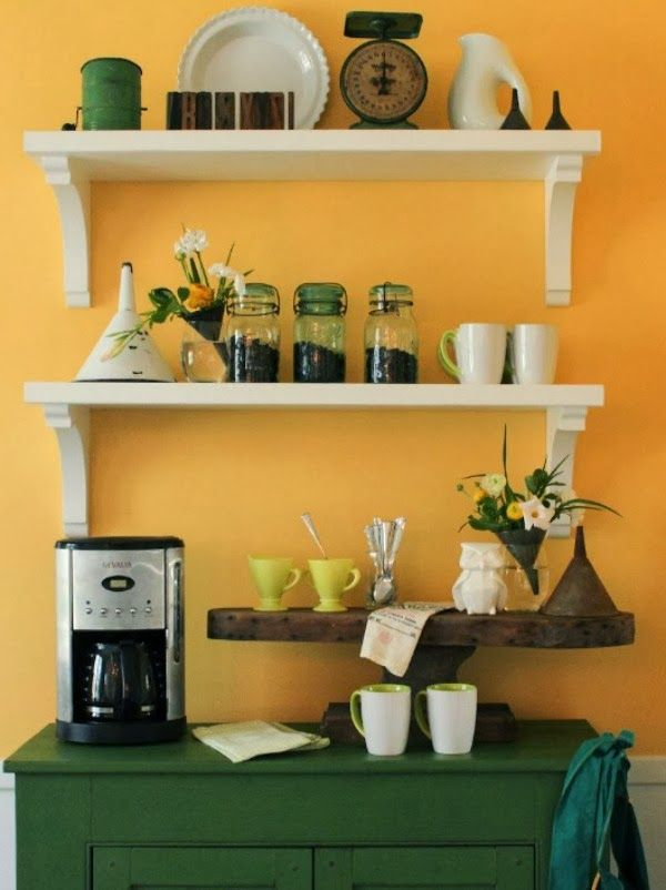 Different Versions Of Coffee Bars...Shelving above with decorations ...
