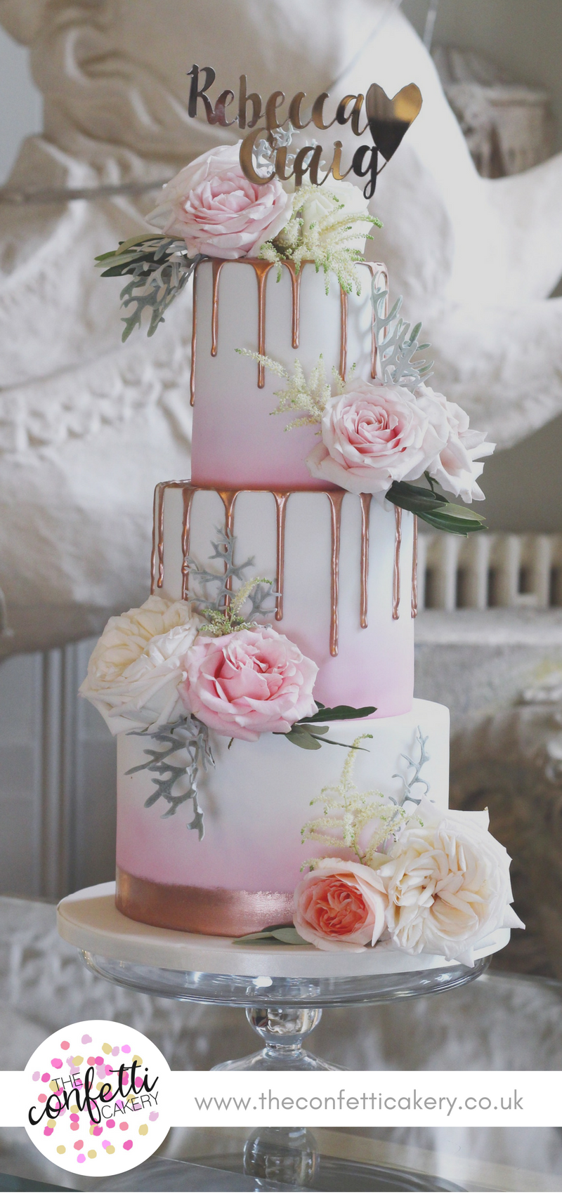 Pink Ombr 233 Wedding Cake With Rose Gold Drips And Fresh