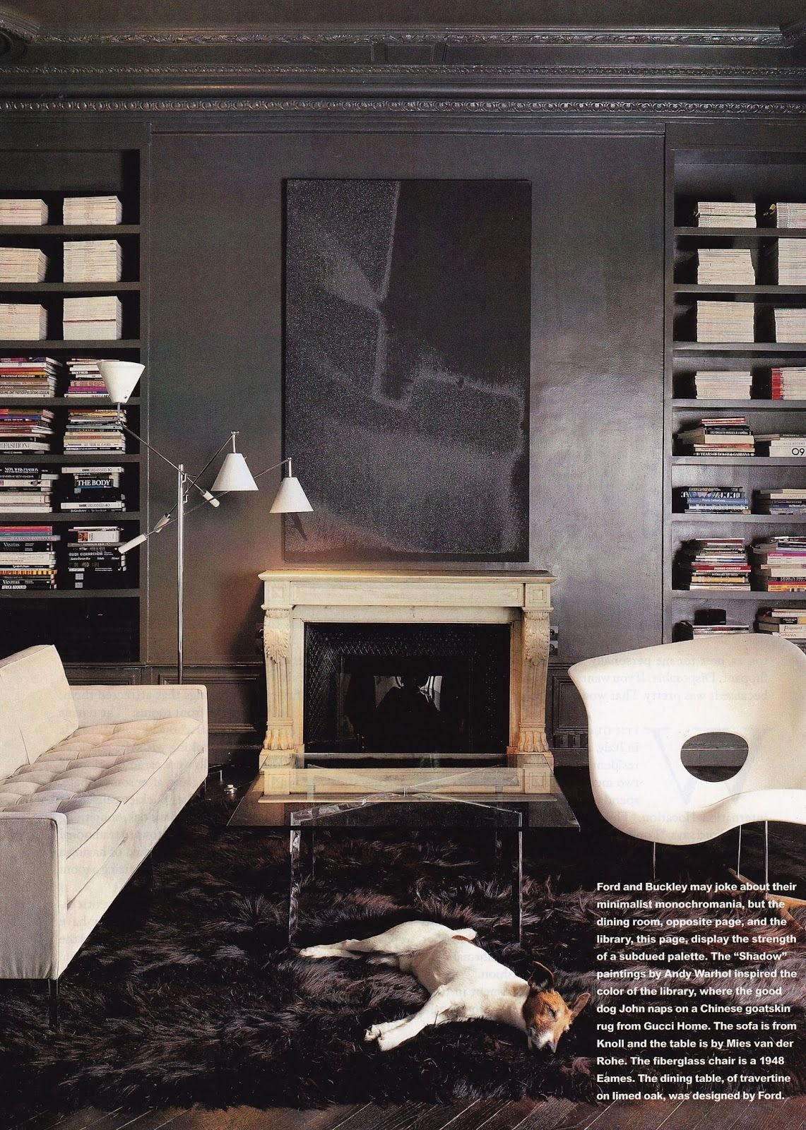 Tom Ford And Richard Buckley S Paris Apartment House Garden 1998 Charles Ray Eames La Chaise Lounge Chair 1948 Tom Ford Interior Dark Interiors Tom Ford
