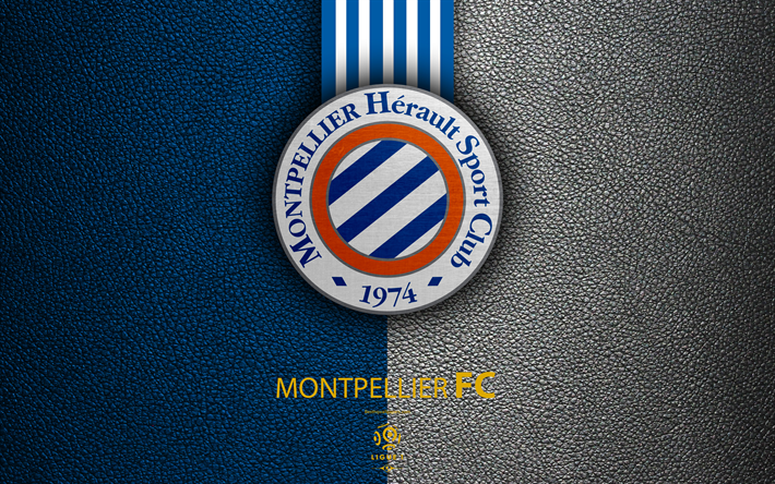 Download Wallpapers Montpellier FC, FC, 4K, French Football Club, Ligue 1, Leather Texture, Logo