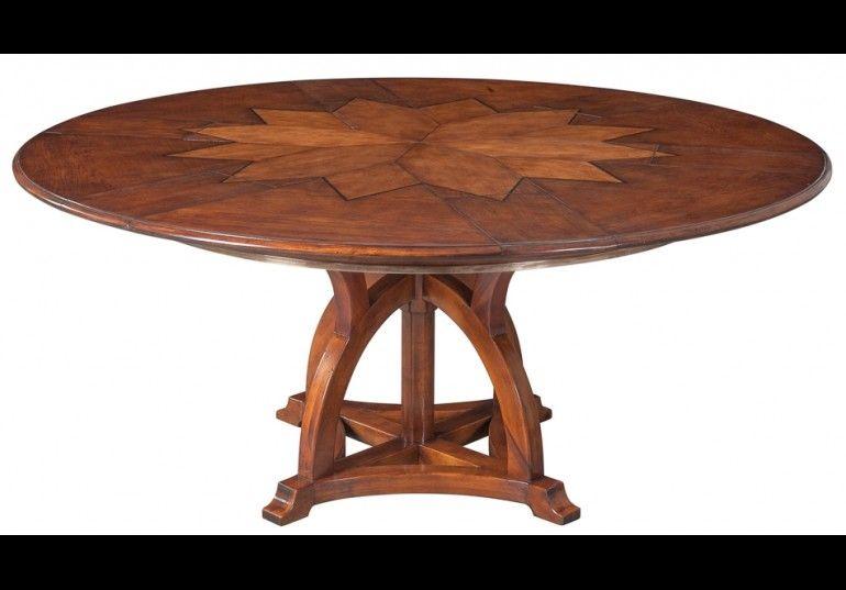 70 Jupe Table Self Storing Leaves Walnut White Oak Center Detail