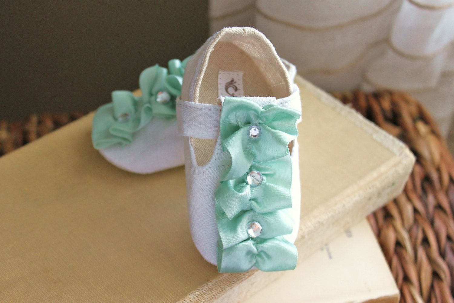 Baby Shoes Soft Soled Shoes Easter Shoes Spring Summer White Sweetly Seafoam…