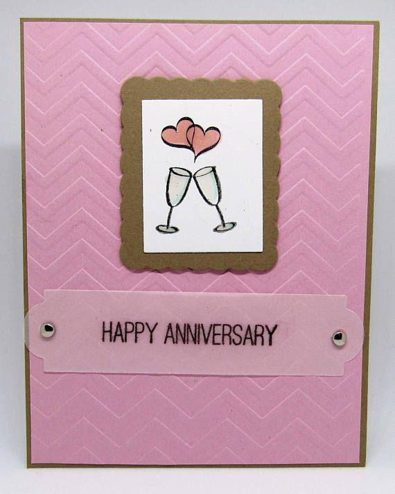 Handmade Anniversary Card Happy Anniversary Champagne Etsy Anniversary Cards Handmade Anniversary Cards Happy Anniversary Cards