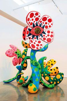 Yayoi Kusama. it is in one of the richest art work i have seen. the sculpture is full of life. i like the dot on the plant contrasting the base colours of stem's and leaves.