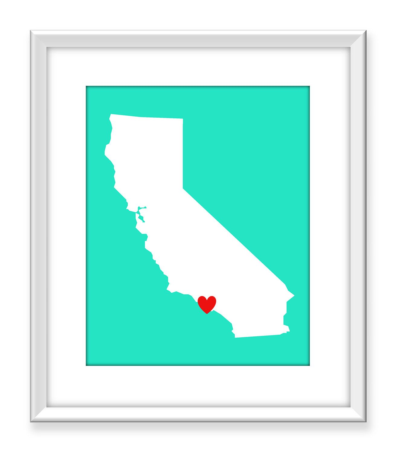California Map Art Print Los Angeles CA USA State Map Heart X - Ca map usa