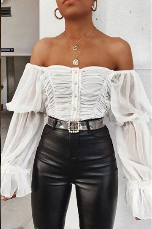 Please note that this item will be shipped directly from The Fashion Bible. This item does not ship internationally.     White chiffon button front top Features a ruched stretch front with pearl button detail and elasticated ruched sleevesOne size will fit a UK size 6-12Length 10