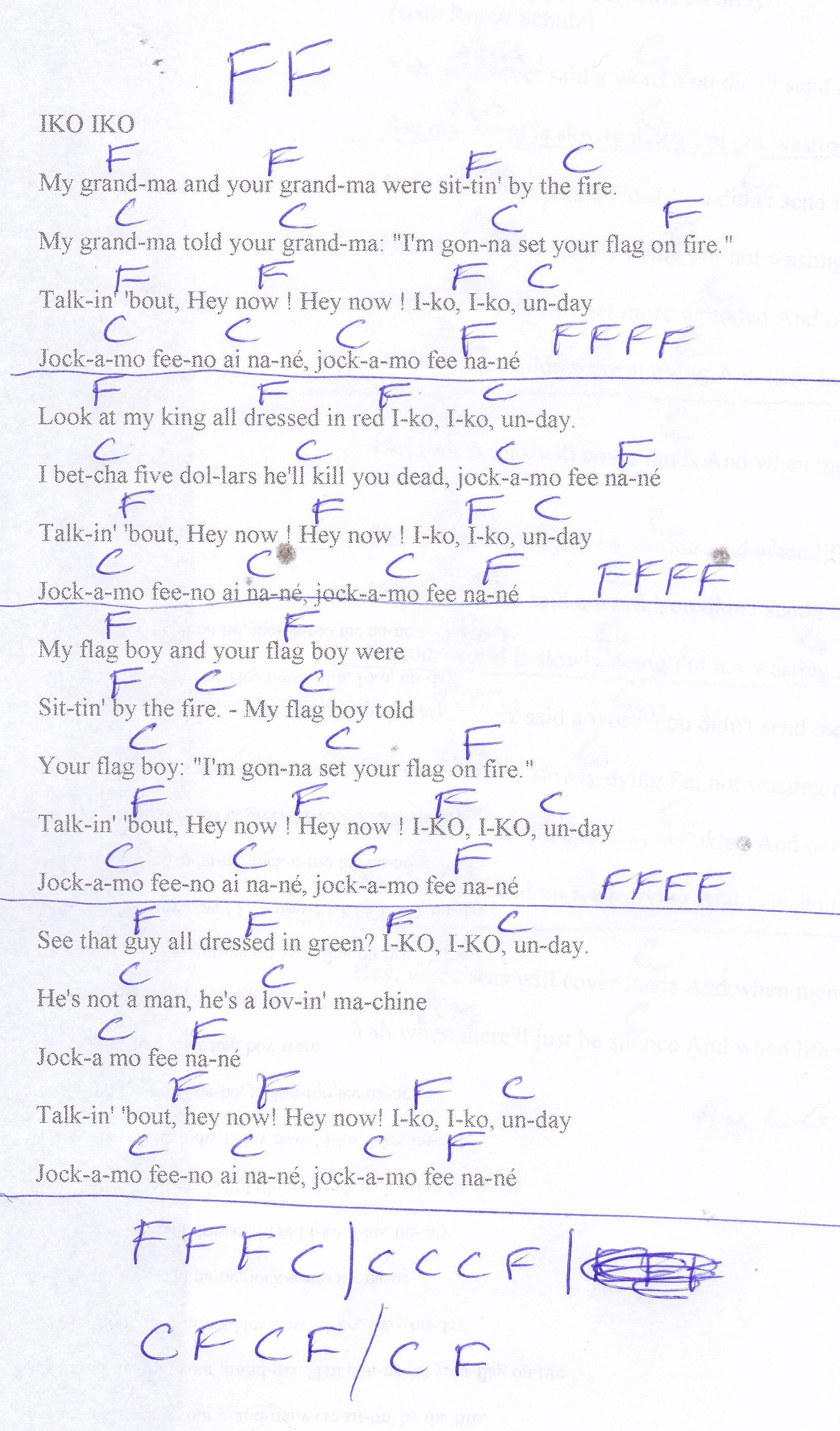 Iko Iko Dixie Cups Guitar Chord Chart Guitar Lesson Chord Charts