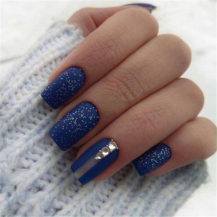 40 Trendy 2019 Dark Blue Nail Art Designs Blue Nail Art Designs Blue Nails Blue Nail Art