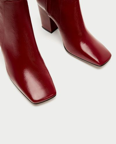 c6e7c2c7eb0c9 LEATHER HIGH HEEL ANKLE BOOTS from Zara #red square toe | Grounded ...