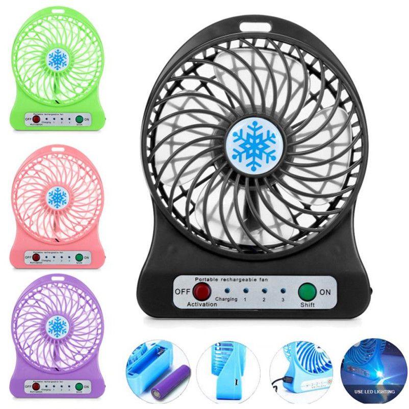 Portable Mini Fan Rechargeable Led Light Air Cooler Desk With Usb Charging Cable Ebay Fan Mini Desk Portable Fan