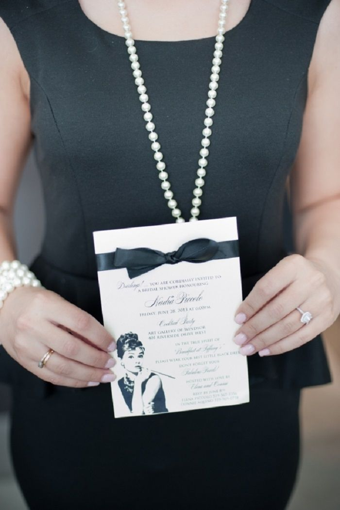 Channeling Audrey Hepburn bridal shower invitation idea | fabmood.com