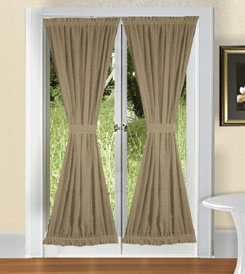 Solid Taupe Khaki Colored French Door Curtain Available In Many Lengths