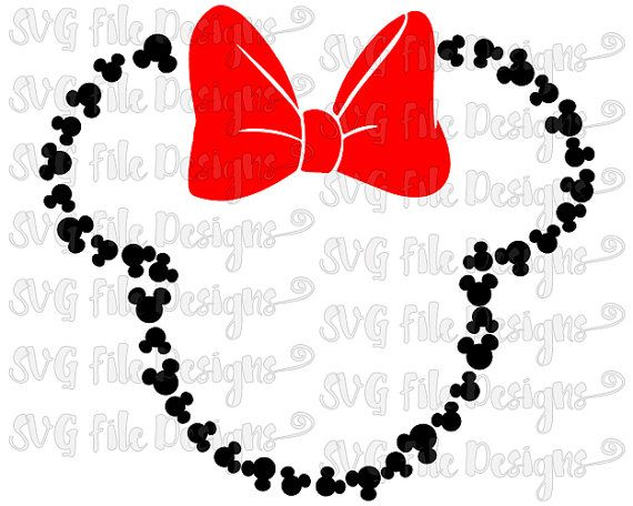 Mickey Mouse Head Outline With Bow Disney Cutting File In Svg Eps