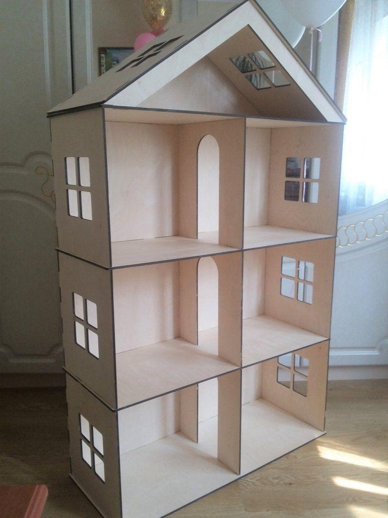 Big Wooden Barbie Dollhouse, Dollhouse miniature 4 floors
