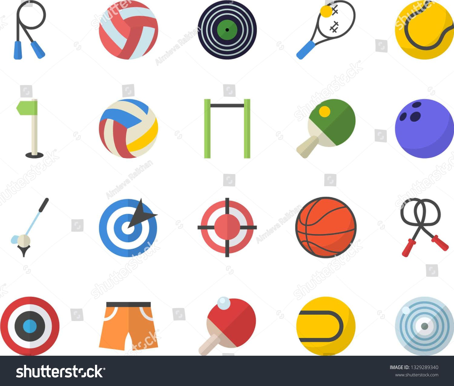 Color Flat Icon Set Target Flat Vector Bowling Ball Basketball Volleyball Skipping Rope Parallel Bars Athletic Short Flat Icons Set Icon Set Target Flats