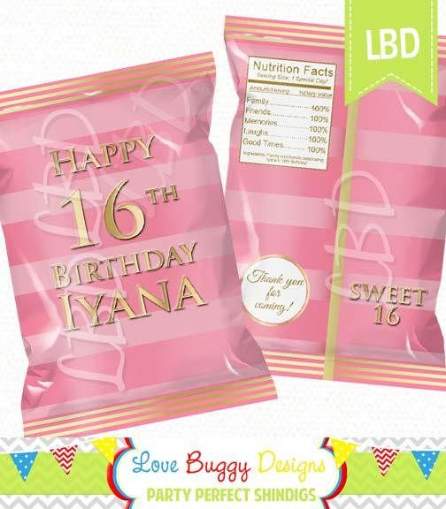 Any Age Pink and Gold Chip Bag Sweet 16 Chip Bag Printable Party Bags Candy Bag 4.5 x 7- YOU PRINT