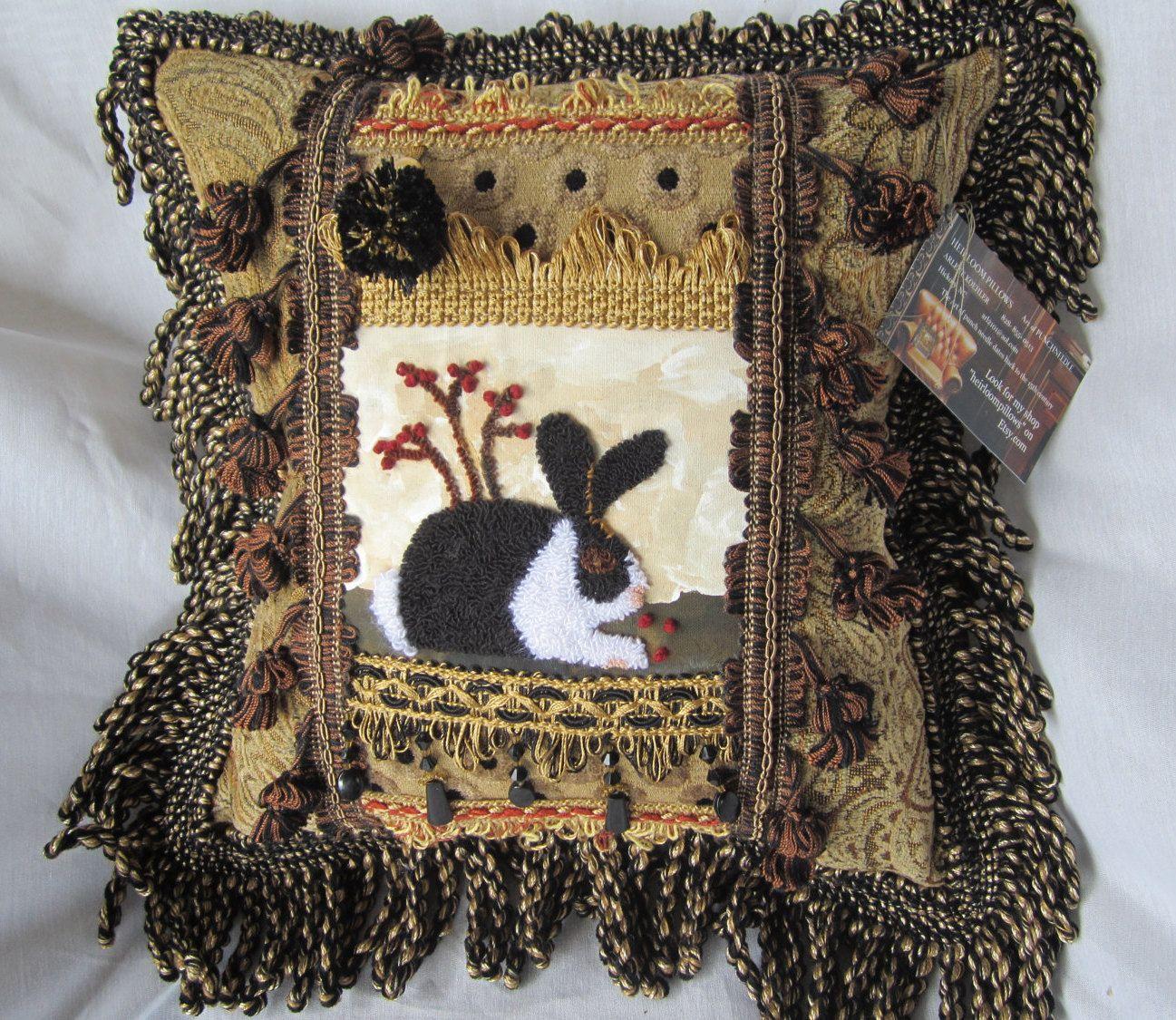 Black and white bunny designer american handmade decorative accent