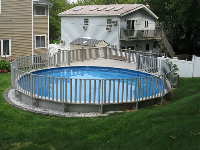 Sharkline Semi In Ground Pool With Fencing Above Ground Pool