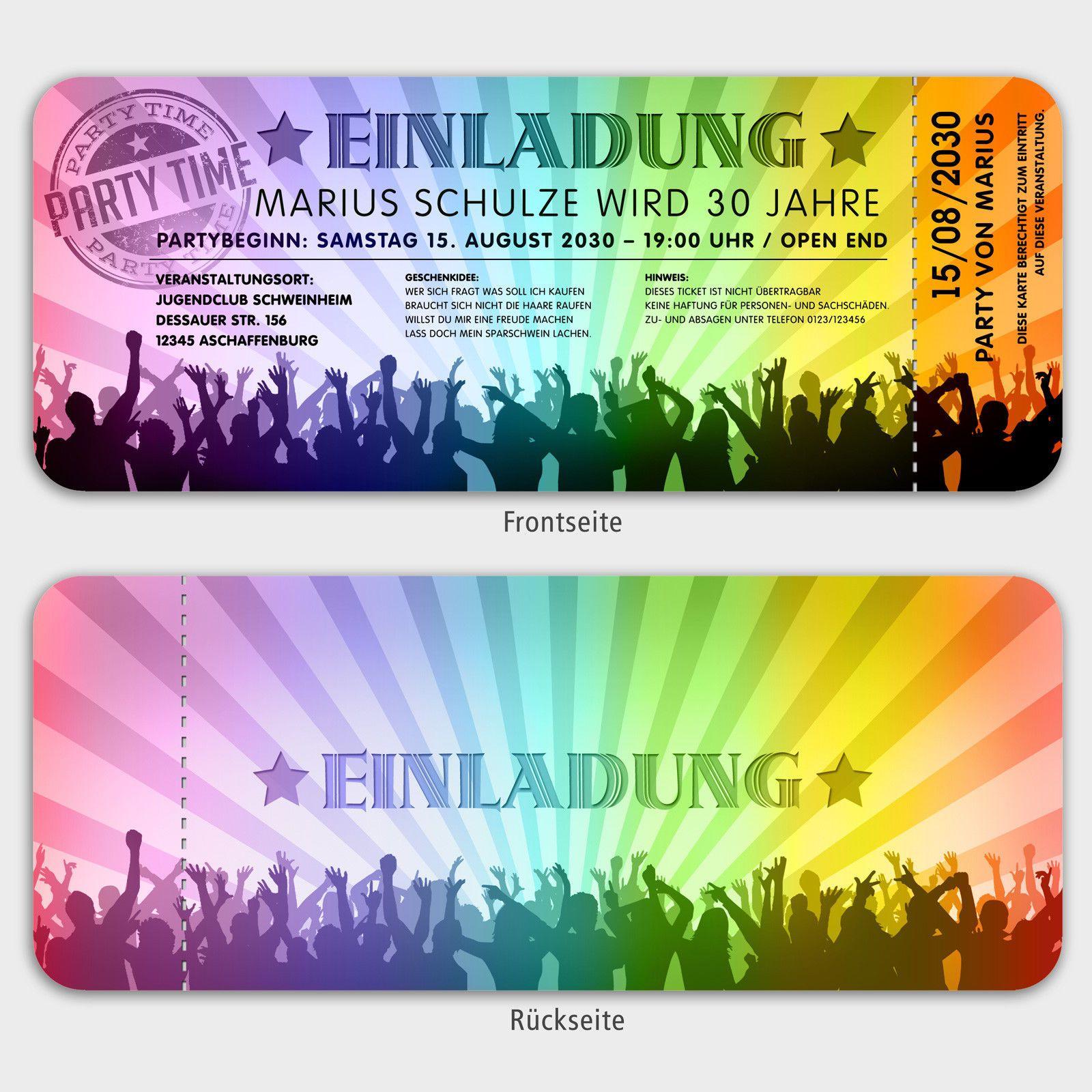 einladungskarten party, geburtstagsparty im stil einer